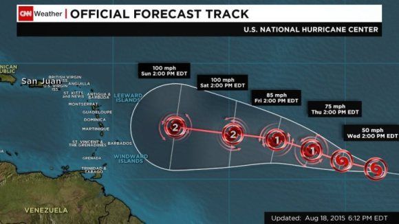 Hurricane Danny's projected path into the Lesser Antilles this weekend or Monday