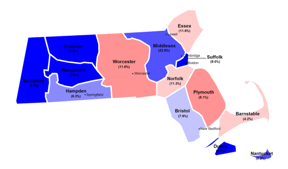 Massachusetts 2012 county results